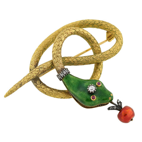 Retro Victorian Revival 14kt Enamel & Diamond Snake & Apple Pin