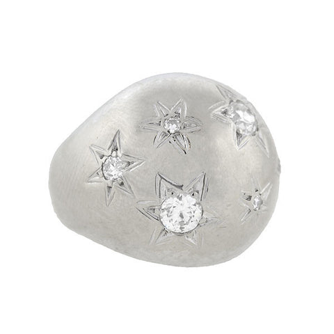 Retro 14kt Diamond Etched Starburst Dome Ring .75ctw