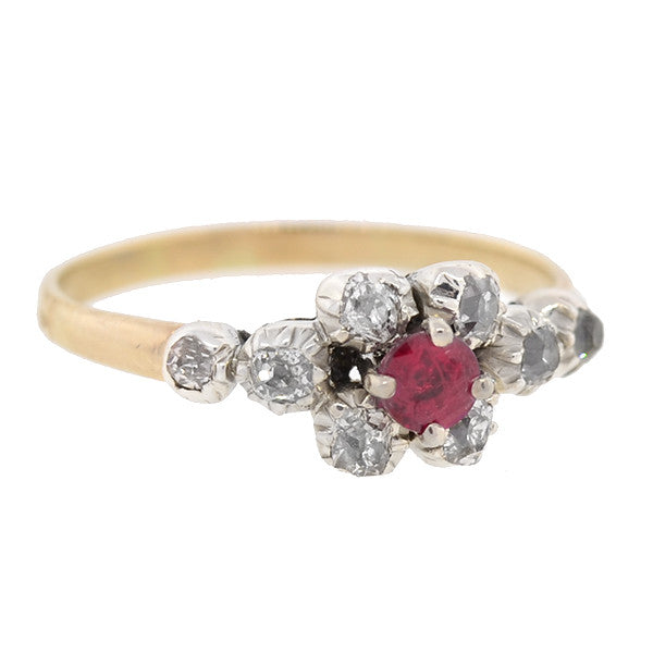 Victorian 14kt & Sterling Ruby & Diamond Cluster Ring
