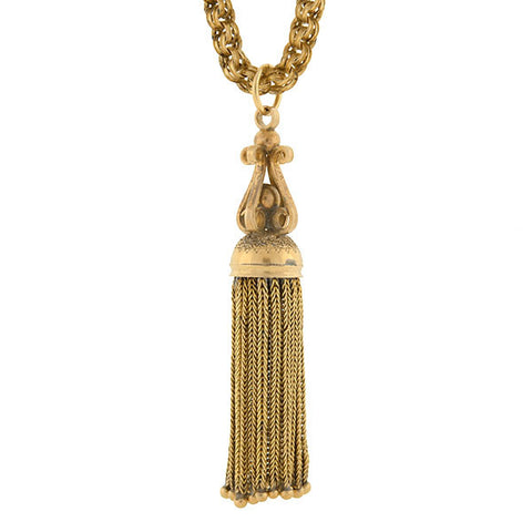 Victorian 14kt Tassel Pendant & Chain Necklace