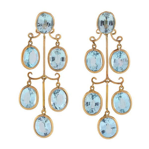 Estate 14kt Aqua Tiered Dangling Earrings