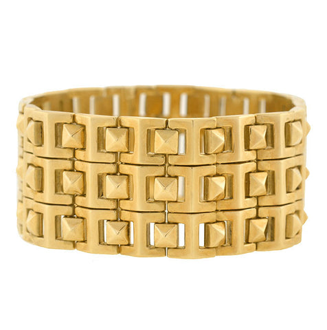 Estate 14kt Wide Pyramid Stud Wrap Bracelet