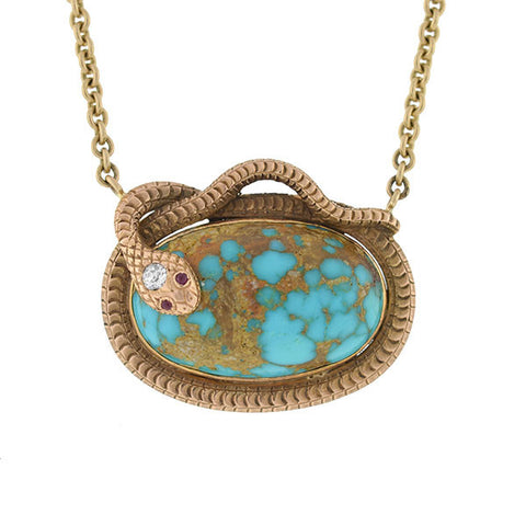 Victorian 14kt Turquoise Diamond & Ruby Snake Necklace