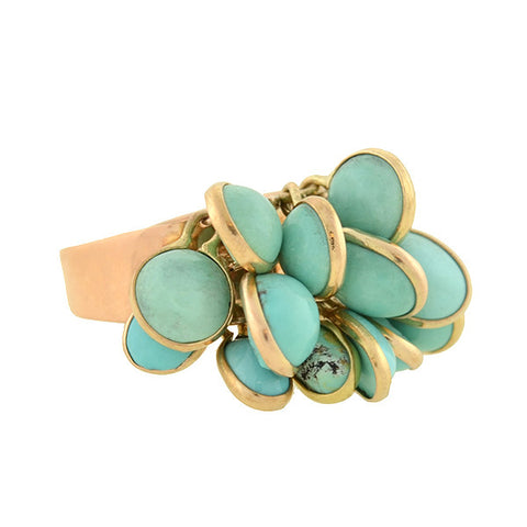 Vintage 14kt Rose Gold & Turquoise Multi Charm Ring