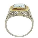 Art Deco 14kt Mixed Metals Aquamarine Filigree Ring