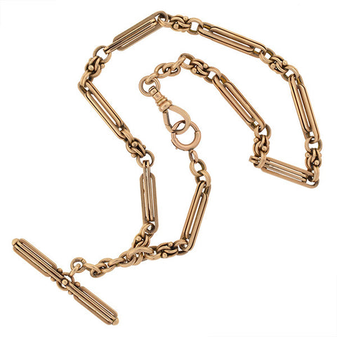 "Victorian 14kt Gold Heavy Watch Chain 15.5"" length"