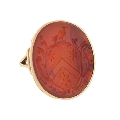Victorian 14kt & Carnelian Family Crest Intaglio Signet Ring