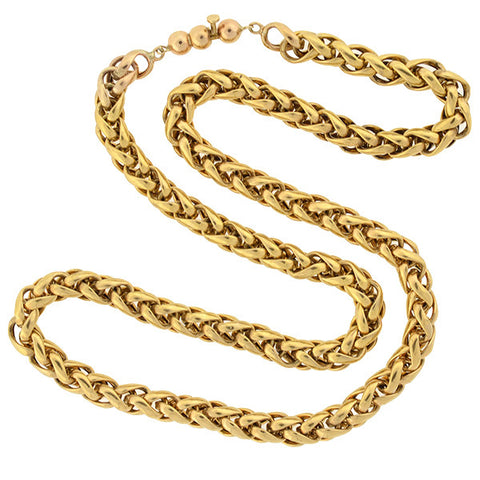 "Victorian 14kt Gold Braided Chain 19"" length"