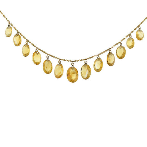 Victorian 14kt Faceted Citrine Festoon Necklace 17.5""