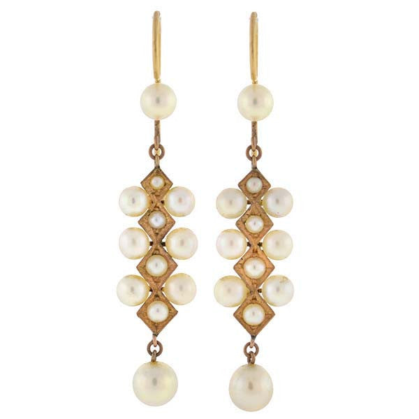 Late Art Deco 14kt Gold Cultured Pearl Earrings