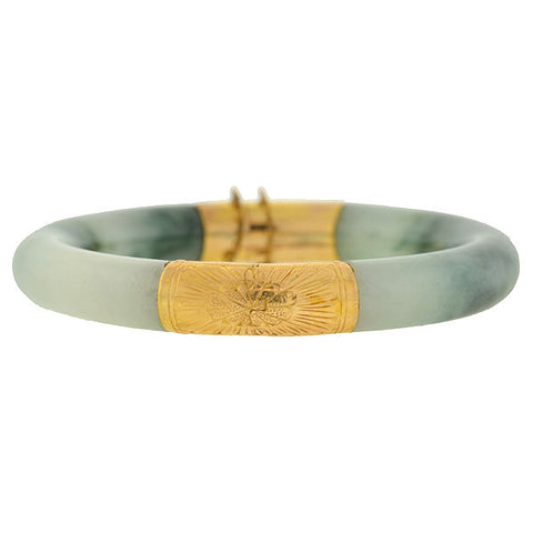 Estate Chinese 14kt Jade Bangle Bracelet