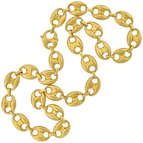 Estate 14kt Heavy Anchor Link Chain Necklace 25""
