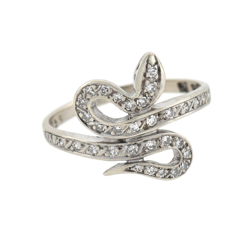 Late Art Deco 14kt Diamond Snake Ring 0.25ctw