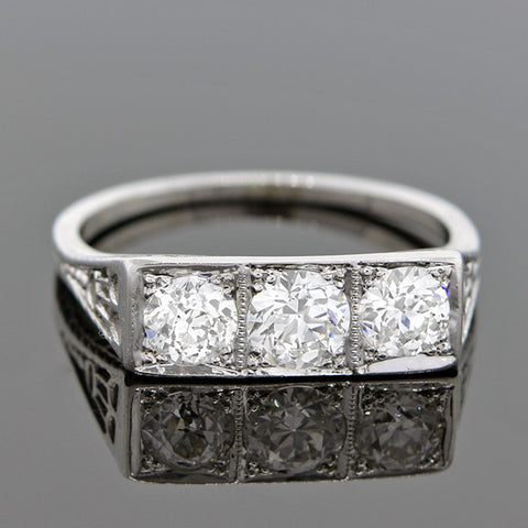 Art Deco 18kt 3 Stone Diamond Ring 1.20ctw