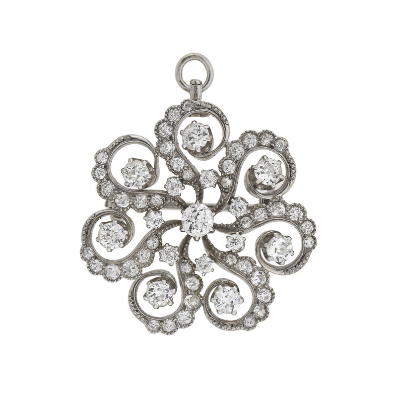 Edwardian 18kt/Platinum Diamond Clover + Starburst Locket Fob with Chain