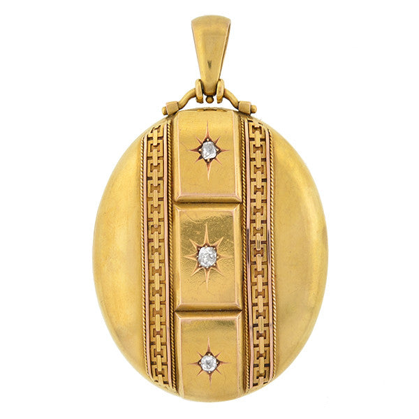 Victorian Large 15kt Gold & Diamond Locket