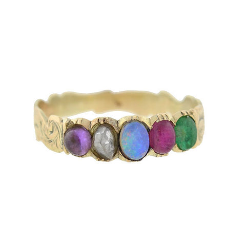 Victorian English 15kt & Multi Stone ADORE Ring