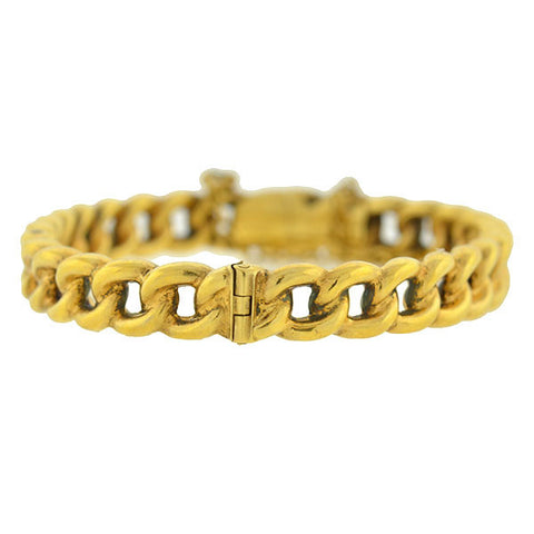 Victorian 15kt Gold Hinged Chain Bangle Bracelet