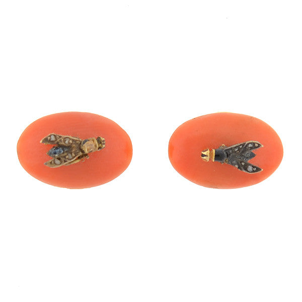 Victorian 15kt Coral & Rose Cut Diamond Fly Buttons