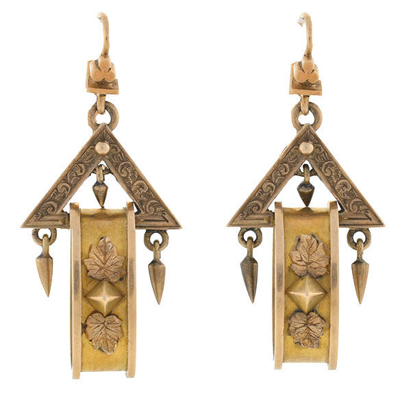 Victorian 15kt Gold Dangling Triangle & Hoop Earrings