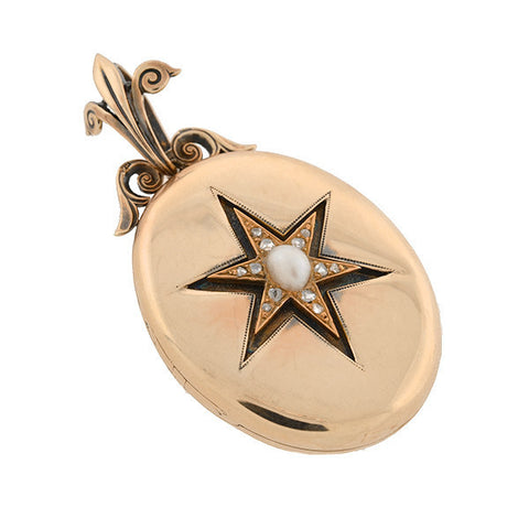 Victorian 15kt Diamond & Pearl Starburst Locket