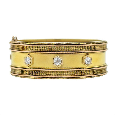 Victorian 15kt Diamond Etruscan Bangle Bracelet 1.11ct.