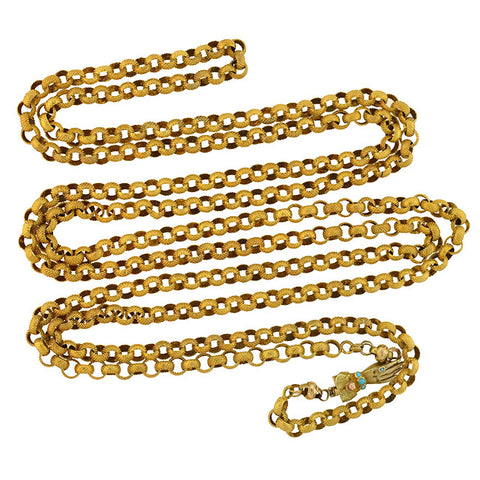 "Georgian 15kt Textured Link 62"" Chain Necklace with Turquoise Hand Clasp"