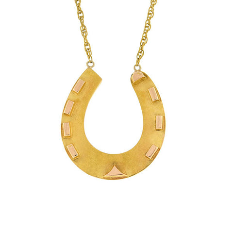 Victorian 15kt Yellow & Rose Gold Horseshoe Necklace
