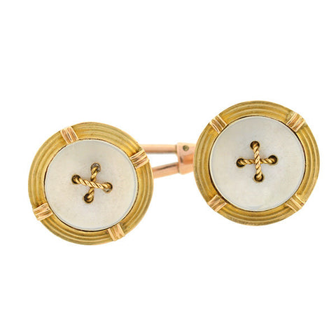 Late Victorian 15kt Mother of Pearl Button Cufflinks