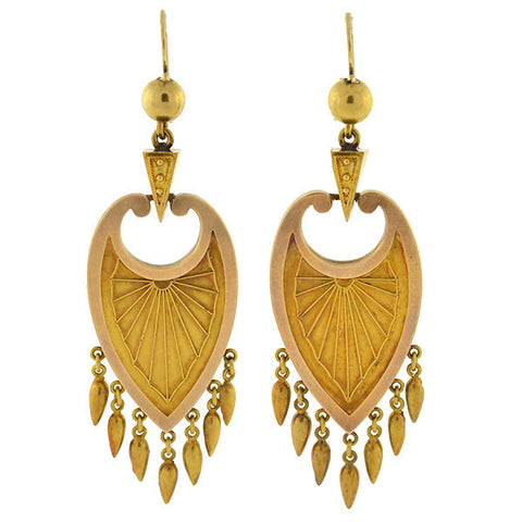 Victorian 15kt Gold Dramatic Hanging Earrings