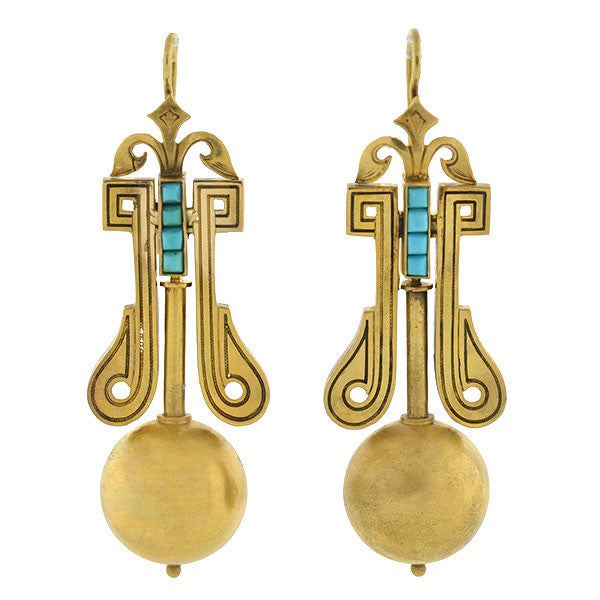 Victorian 15kt Gold & Turquoise Earrings