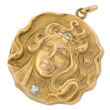 Art Nouveau 15kt Repousse & Diamond Maiden Locket