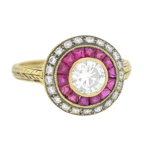 Estate 18kt Diamond & Ruby Ring .65ct center