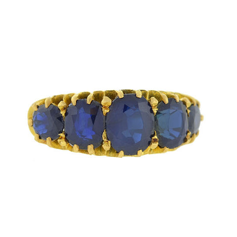 Victorian 18kt Gold 5-Stone Sapphire Ring 4.00ctw