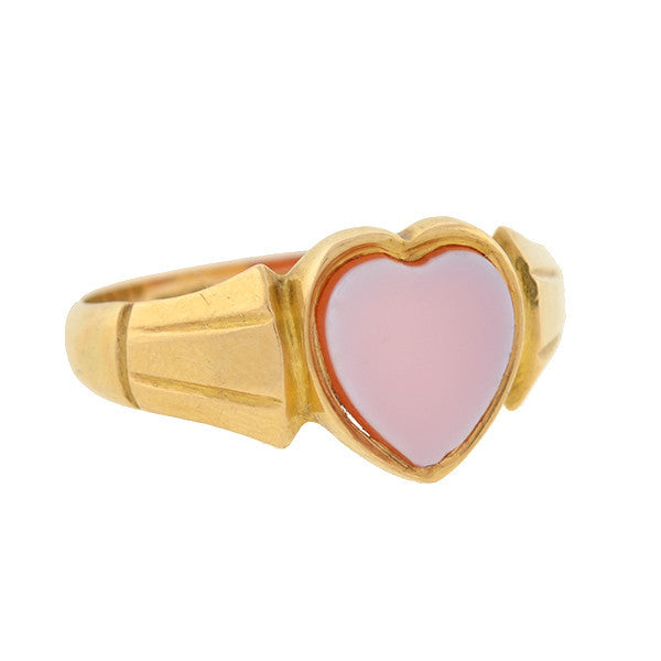 Art Nouveau 18kt Yellow Gold Banded Agate Heart Ring