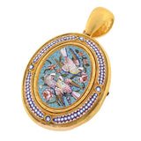 Victorian 18kt Micro Mosaic Pin/Locket with Bird Motif