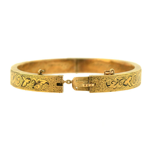 Victorian 14kt Tracery Mourning Bangle Bracelet