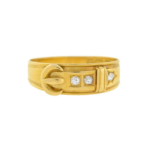 Victorian 18kt Gold Diamond Buckle Ring