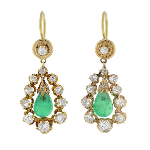 Victorian 18kt Diamond Emerald & Teardrop Dangling Earrings