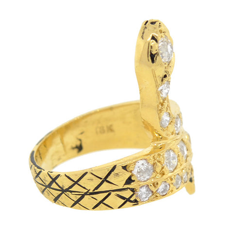 Retro 18kt Yellow Gold & Diamond Snake Ring 2.50ctw