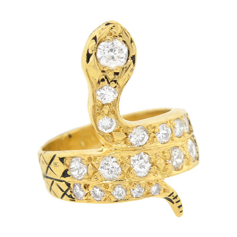 Retro Style 18kt Diamond Snake Ring 2.50ctw