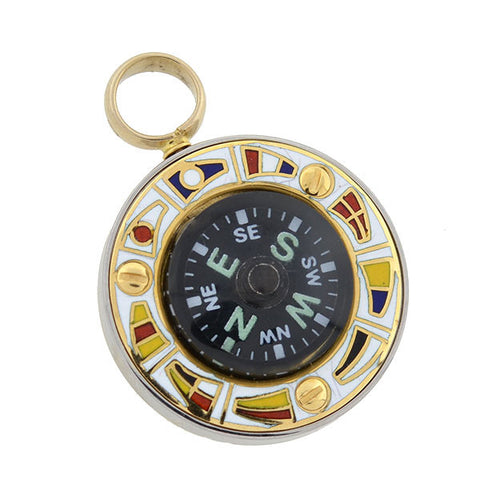 Retro 18kt Enameled Moveable Sailor's Compass Pendant