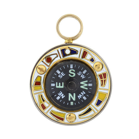 Retro 18kt & Enamel Moveable Sailor's Compass Pendant