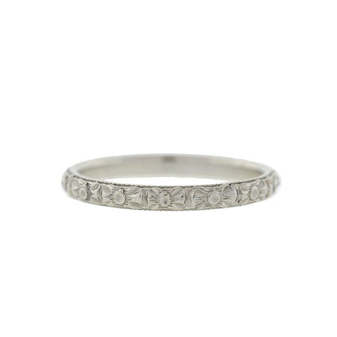 Late Victorian 18kt White Gold Carved Band