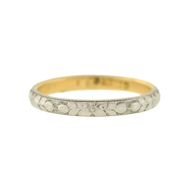 Edwardian 18kt Mixed Metals Engraved Floral Band
