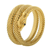 Retro 18kt Flexible Wrap-Around Coiled Snake Bracelet 48.1dwt