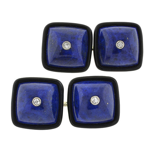 Art Deco 18k Lapis, Onyx, & Diamond Cufflinks