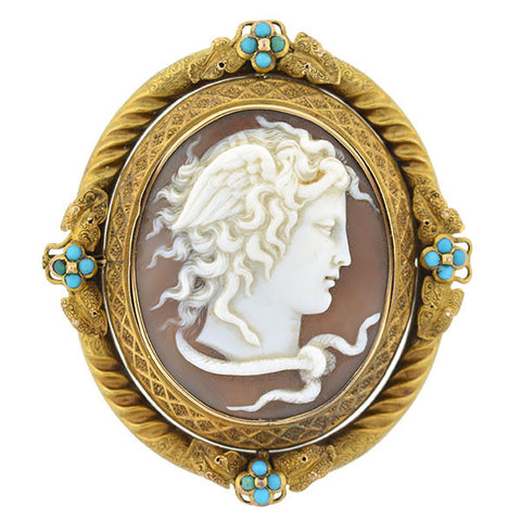 Victorian Huge French 18kt Medusa Cameo Pin/Pendant