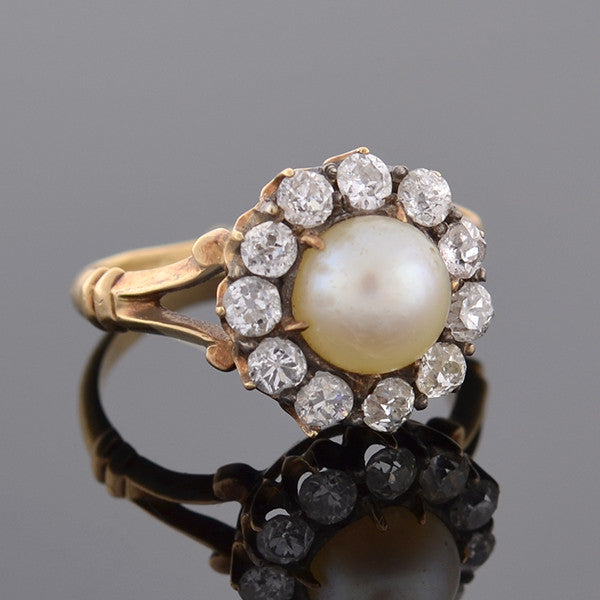 Victorian 18kt Pearl & Diamond Cluster Ring .75ctw