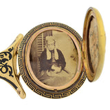 Victorian 18kt Gold Black Tracery Memorial Locket Bracelet